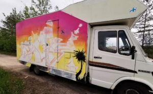 Graffiti on a camper van