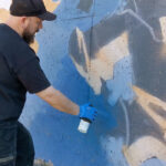 Graffiti artist at work