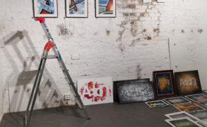 Artwork on wall and floor