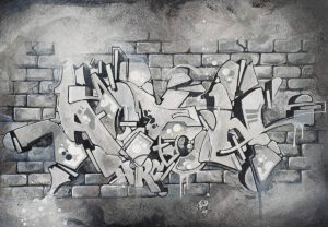 Black and white painting, Acton-text